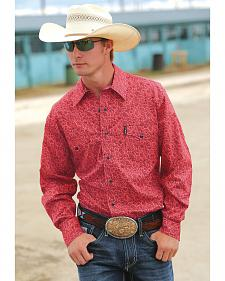 Cinch Men's Modern Fit Coral Print Long Sleeve Western Shirt