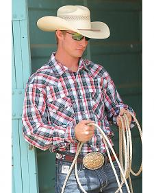 Cinch Men's Modern Fit Red and White Plaid Long Sleeve Western Shirt