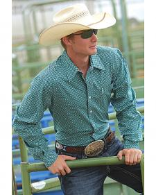 Cinch Men's Modern Fit Green Print Long Sleeve Western Shirt