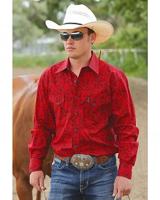 Cinch Men's Modern Fit Red Paisley Long Sleeve Western Shirt