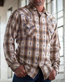 Ryan Michael Men's Ombre Dobby Plaid Shirt