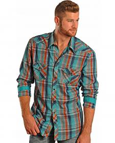 Rock and Roll Cowboy Teal Plaid Poplin Western Shirt
