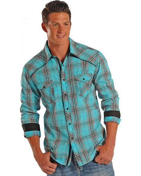 Rock and Roll Cowboy Mineral Washed Plaid Western Shirt