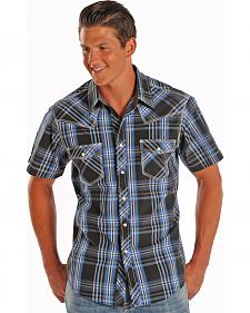 Rock and Roll Cowboy Short Sleeve Satin Plaid Western Shirt