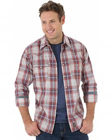Wrangler Retro Men's Blue and Rust Plaid Western Shirt