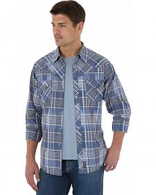 Wrangler Retro Men's Navy Plaid Western Shirt