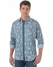 Wrangler Retro Men's Grey Blue Western Shirt