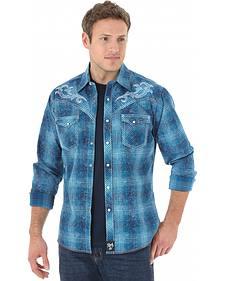 Wrangler Rock 47 Men's Blue Plaid Embroidered Western Shirt