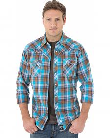 Wrangler Rock 47 Men's Teal and Brown Plaid Western Shirt