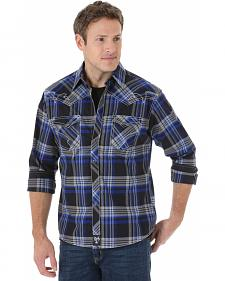 Wrangler Rock 47 Men's Blue & Black Plaid Snap Shirt