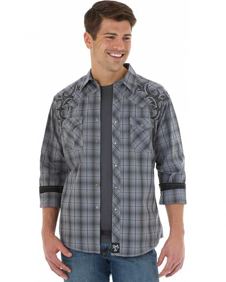 Wrangler Rock 47 Men's Grey Plaid Western Shirt