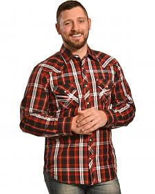 Ely 1878 Men's Red and Black Plaid Pickstitch Western Shirt