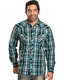 Ely Men's Turquoise Plaid 1878 Western Shirt