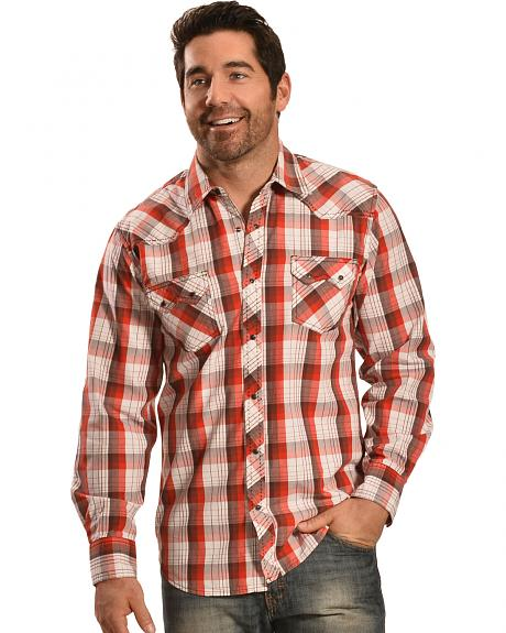 Ely Men's 1878 Rust Red Plaid Sawtooth Western Shirt