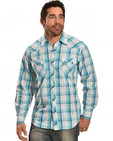 Ely Men's 1878 Turquoise Plaid Sawtooth Western Shirt