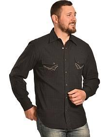 Ely 1878 Men's Black Windowpane Dobby Western Shirt