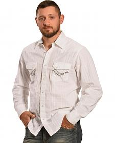 Ely 1878 Men's White Windowpane Dobby Western Shirt