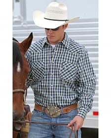 Cinch Men's Navy Plaid Modern Fit Double Pocket Western Shirt
