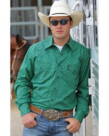 Cinch Men's Green Print Modern Fit Double Pocket Western Shirt