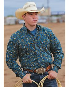 Cinch Men's Blue Floral Print Modern Fit Double Pocket Western Shirt