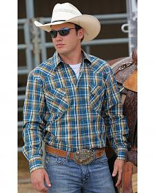 Cinch Men's Blue and Gold Plaid Modern Fit Double Pocket Western Shirt