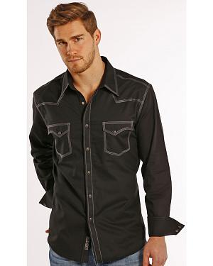 Rock and Roll Cowboy Black Dobby Triple Stitch Western Snap Shirt