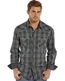 Rock and Roll Cowboy Indigo Wash Plaid Western Snap Shirt