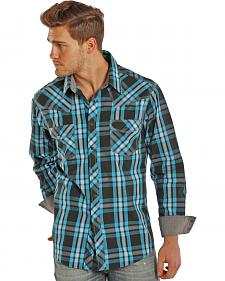 Rock and Roll Cowboy Turquoise and Black Plaid Western Snap Shirt