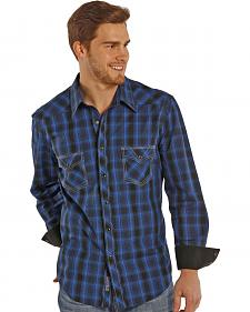 Rock and Roll Cowboy Blue and Black Poplin Western Snap Shirt