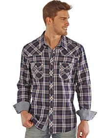 Rock and Roll Cowboy Herringbone Brushed Plaid Western Snap Shirt