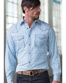 Ryan Michael Men's Chambray Indigo Print Shirt