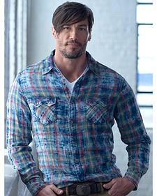 Ryan Michael Men's Indigo Cloud Plaid Shirt