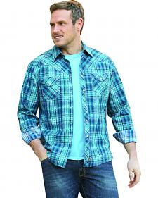 Wrangler Retro Men's Long Sleeve Blue Plaid Snap Shirt