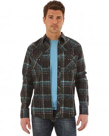 Wrangler Retro Men's Long Sleeve Black Plaid Snap Shirt