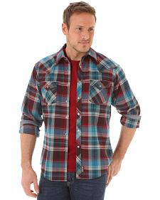 Wrangler Retro Men's Long Sleeve Wine Plaid Snap Shirt