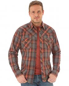 Wrangler Retro Men's Long Sleeve Grey Plaid Snap Shirt