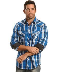 Ely Men's 1878 Blue Plaid Western Shirt