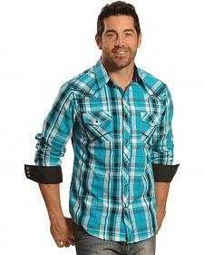 Ely Men's 1878 Teal Plaid Western Shirt