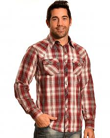 Ely 1878 Men's Rust Plaid Holster Yoke Western Shirt