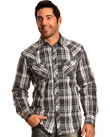 Ely 1878 Men's Navy Plaid Holster Yoke Western Shirt