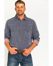 Ryan Michael Men's Navy Yarn Dye Patina Canvas Shirt