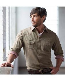 Ryan Michael Men's Olive Yarn Dye Patina Canvas Shirt