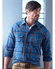 Ryan Michael Men's Exploded Indigo Plaid Shirt