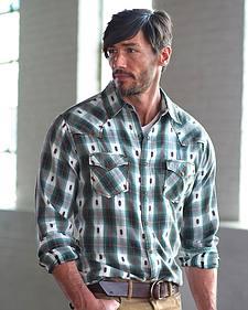 Ryan Michael Men's Brushed Ombre Dobby Plaid Shirt