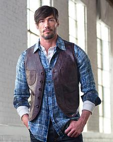 Ryan Michael Men's Leather & Indigo Print Vest