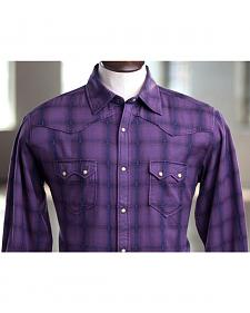 Ryan Michael Men's Indigo Overdyed Plaid Shirt