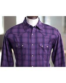 Ryan Michael Men's Indigo Overdyed Plaid Shirt