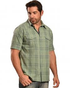 Ryan Michael Men's Sun Bleach Plaid Moss Short Sleeve Shirt