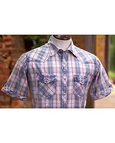 Ryan Michael Men's Dobby Plaid Short Sleeve Shirt