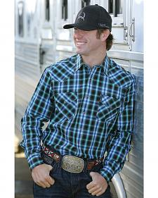 Cinch Men's Black and Blue Modern Fit Snap Western Shirt